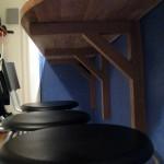 Brackets and bar stools.