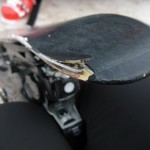 This is the damage the crash caused. Lucklily the ski was broken at the front before so they did not charge me for it.