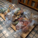 All of them bagged up. I made three multicolored bags; one for my neighbor, one for my parents and one for myself.