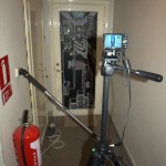 My time-lapse setup. The one-leg camera pod is there to keep the lights on.