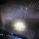 We found these inscriptions on the walls while exiting, then our eyes had gotten more used to the darkness.