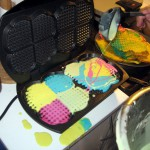 More colorized food? Of course! Has waffles ever been so fun? And so messy!