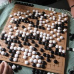 In this game of Go there was one experienced player and two crappy players. We took turns so each time you placed a stone, you had swapped color :) Very relaxing! And yeah, I was one of the crappy players.
