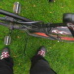 When I got them I happened to notice that my new steel cap shoes pretty well matched my dirty bike... unintended of course.
