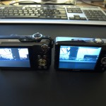 """The Casio has a 2.7"""" screen and the Canon 3.0"""", but I don't mind. The smaller screen appears much brighter in comparison (not so much in the photo), not sure if that is because of age or not..."""